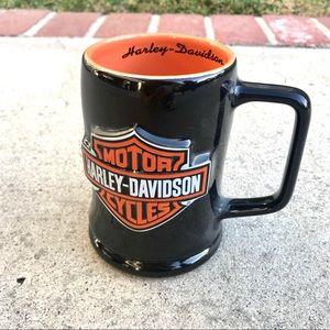 Rare HARLEY DAVIDSON MUG black orange cup shield